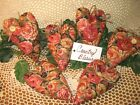 6 Handmade floral fabric rose heart ornaments Valentine Bowl Fillers Home Decor