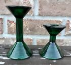 Vintage Forest Emerald Green Glass Tapered Candlestick Holders Mid Century Mod