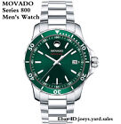 New Movado Men's Series 800 Green Dial Stainless Steel Silver Tone Watch 2600136