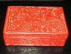Vintage Chinese Carved Cinnabar Square Box on Black Enamel 5