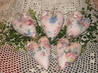 5 Handmade floral fabric hearts Valentine Ornaments Bowl Fillers Home Decor