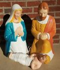Vintage Poloron Nativity Figures Blow Mold Joseph Mary Baby Jesus Original Box