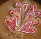 Primitive Valentines Heart Sugar Cookie Set Of 6