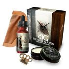 Beard Care Kit Set Wooden Grooming Brush Knuckle Comb Mustache Conditioner New