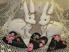 Rabbits Floral Fabric Hearts bowl fillers Handmade Country Valentine Home Decor