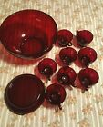 ANTIQUE ANCHOR HOCKING RUBY RED GLASS PUNCH BOWL TRIVET 8 CUPS SET EXCELLENT!!