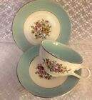 Vintage 1950 MID CENTURY 1 Cup & 2 Saucers DANUBE Turquoise CUNNINGHAM & PICKET