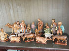 Vintage Hand Carved Italian Extra Large 13 Nativity Set 21 Pieces Olive Wood