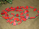 PRIMITIVE COUNTRY DECOR RED AND GREEN HEART BEAD GARLAND