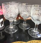 Antique Greek Key Drinking Water Wine Glasses Goblets Set Of Four