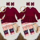 Casual Kids Baby Girl Toddler Outfit Clothes T shirt Top Dress+Long Pants Set US