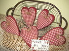 Set of 5 Burgundy check fabric hearts bowl fillers Country Valentine Home Decor