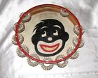Antique Hand Made Wood Red Tambourine Drum With Painted Monkey Unique Musical