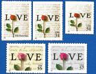 US LOVE 3496 3497 3498 3499 + 3551 Complete Set of 5 Stamps Mint Never Hinged