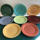 Vintage Hazel Atlas Ovide Set Of 8 Dinner Plates Turquoise Green Gray 9 Inch