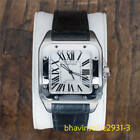 Working Great CARTIER SANTOS 100 Leather Strap Men's Automatic Watch