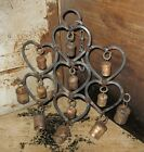 Wrought Iron HEART Cow Bells WIND CHIME*Primitive/French Country Farmhouse Decor