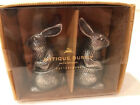 Pottery Barn Antique Bunny Rabbits Salt  Pepper Shakers Pewter NIB Easter