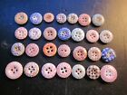 VINTAGE ANTIQUE VICTORIAN CLOTHING BUTTONS TWENTY EIGHT SMALL OLD RARE CALICOES