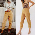 Women's High Waist Straight Pants Corduroy Harem Long Pants Baggy Solid Color