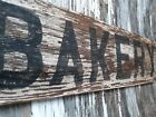 Old early Primitive antique farm chippy Barn white wood BAKERY sign kitchen