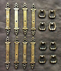 8 Vintage Amerock Brass Cabinet Pull Handles Rustic Carriage House Style