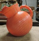 Vintage Orange Glass Ball Water Pitcher, 1950's, Old, Nice, Used, (VB)
