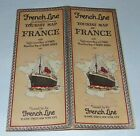 C1920'S FRENCH LINE Brochure TOURIST MAP OF FRANCE Cruise Ship