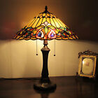 Tiffany Style 2 Light Table Lamp Gold w Jewels Stain Glass Antique Brass Finish