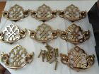 8 Vintage Brass Chippendale Style Drawer Pulls Knobs Handles Furniture Hardware