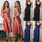 Women Nightwear Satin Lace Lingerie Pajamas Sleepwear Long Maxi Dress Robe Gown