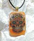Sugar Skull Handmade Crafted Art Dichroic Fused Glass Pendant with Necklace