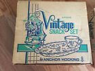 Vintage Anchor Hocking Set of 4 Glass Luncheon Snack Tray Grapes with box