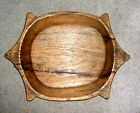 Primitive Wood Dough Bowl Trencher with Handles