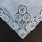 Vintage Antique Handkerchief Hankie Bridal Rose Buds Needle Lace Hand Made