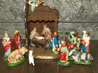 Vintage Creche Nativity Scene Stable People Angels Angel 2648
