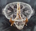 Anchor Hocking Clear Glass Vintage Grape Pattern, Snack Set, 6 Plates and 6 Cups