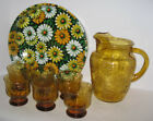 Libbey Country Garden Daisy Beverage Set: Amber Glass Pitcher, 6 Tumblers, Tray