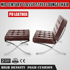 Mid Century Classic Style Leather Lounge Chair Hand Sewn Brown Grain Leather