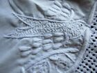 ANTIQUE HAND MADE EMBROIDERED COTTON CLOTH~BIRD~FLOWERS~PADDED~DRAWNWORK~PERFECT