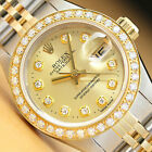 AUTHENTIC LADIES ROLEX CHAMPAGNE DIAMOND DATEJUST 18K YELLOW GOLD