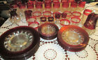 HUGE LOT Vintage Ruby Red Kings Crown Thumbprint Glass Pitcher Plates OTHER etc