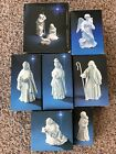 9 Piece AVON Vintage White Porcelain Complete Nativity Set 1981 1987 MIB