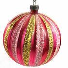 Vintage Christmas Ornament Mercury Glass Striped Ball Round West Germany
