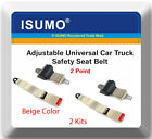 2 Kits Adjustable Universal Car Truck 2 Point Beige Seat Belt Lap Safety Belt