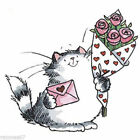 New Penny Black FURRY LOVE Wood Rubber Stamp Love Heart Cat Flowers Roses Letter
