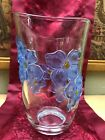 Large Heavy Clear Glass Vase with 3D Blue Floral Pattern 9 Tall