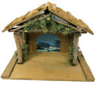 Vintage 1950s Nativity Creche Handmade STABLE Wood Tree Branch Folds 4 Storage