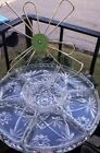 Anchor Hocking Early American Prescut Glass Lazy Susan W/Metal Turntable EAPC