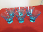 Set of 6 Turquoise Blue Bubble Dot Glasses Footed 3